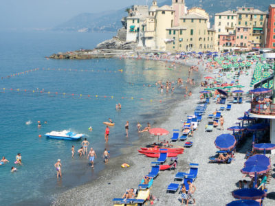 Comiglio Beach Panorama with Blue Umbrellas 2010